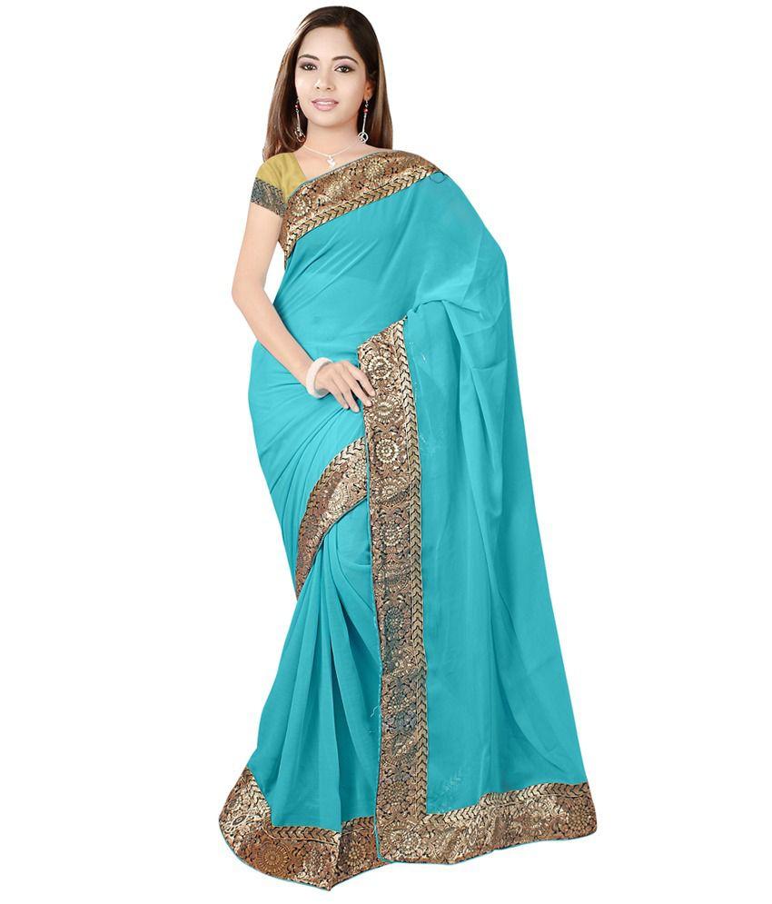 Sixmeter Blue Chiffon Printed Saree With Blouse Piece