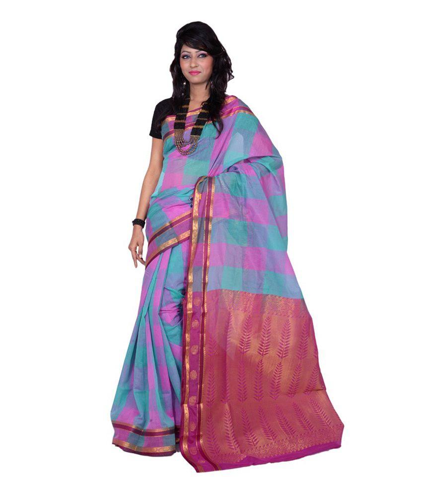 Banarasi Silk Works Pink, Sea Green With Multicolour Cotton Saree With Blouse Piece