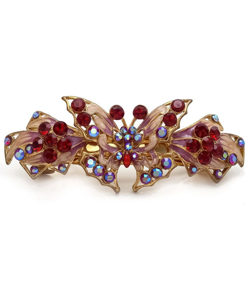 Red Blue Stone : Be you red blue stone meena work hair barrette buy online
