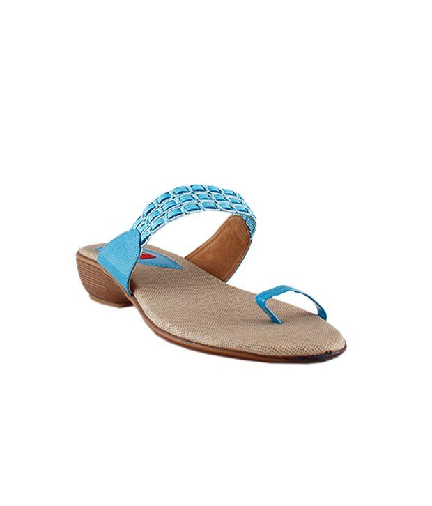 Bonjour Blue Patent Slip On sandal for Women