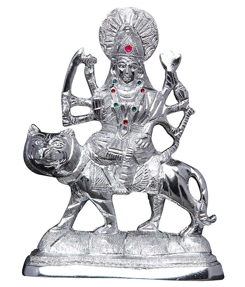 Mangal Handcrafted White Metal Durga Idol 6k