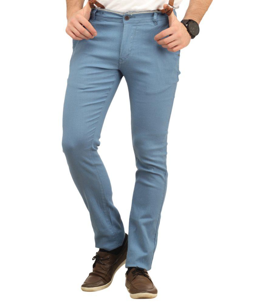 Waltz Blue Cotton Trousers For Men