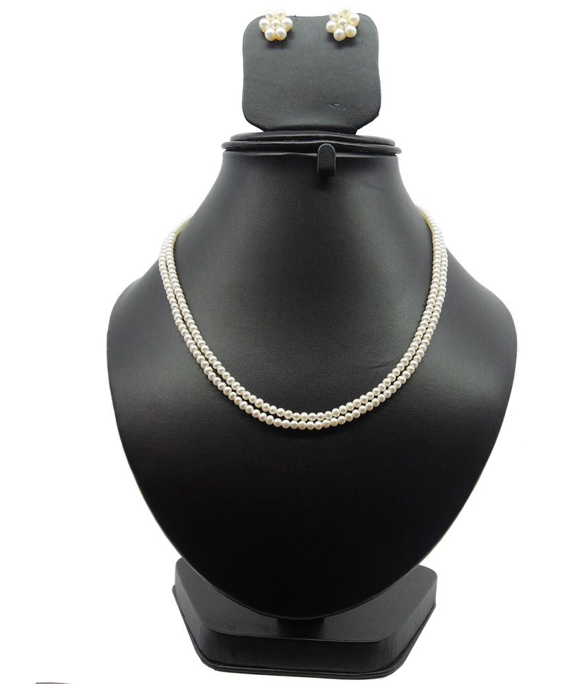 Bling N Beads Classic White Real Pearl Double Line Necklace
