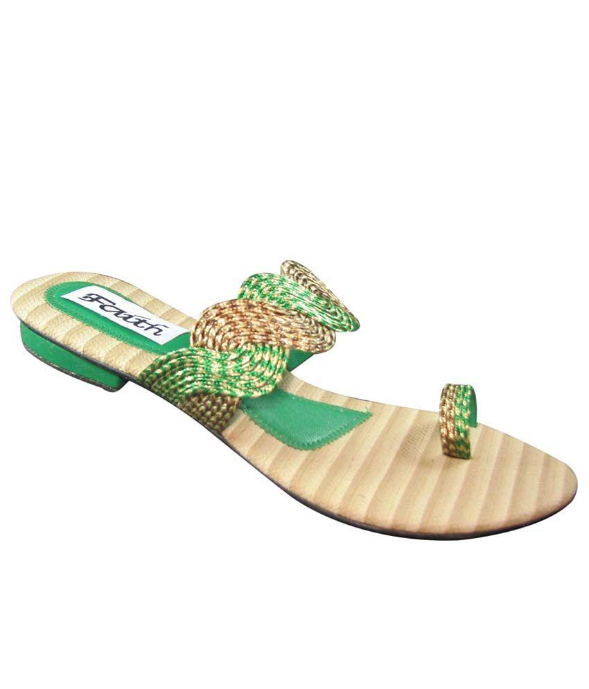 Faith Green Faux Leather Heeled Slip-On