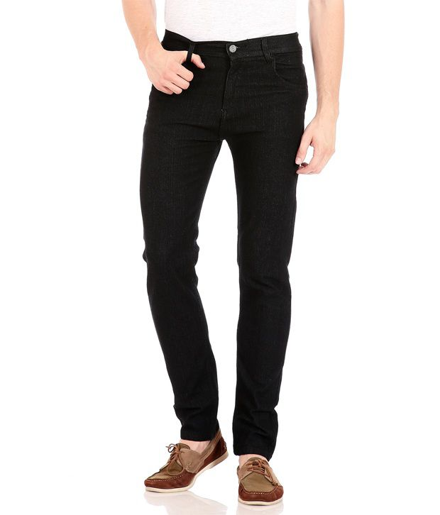 Flyjohn Black Cotton Slim Fit Jeans