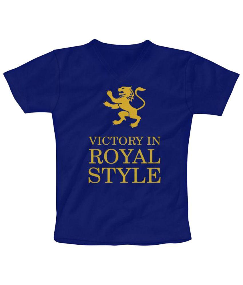 Freecultr Express Ravishing Blue & Yellow V Neck T Shirt