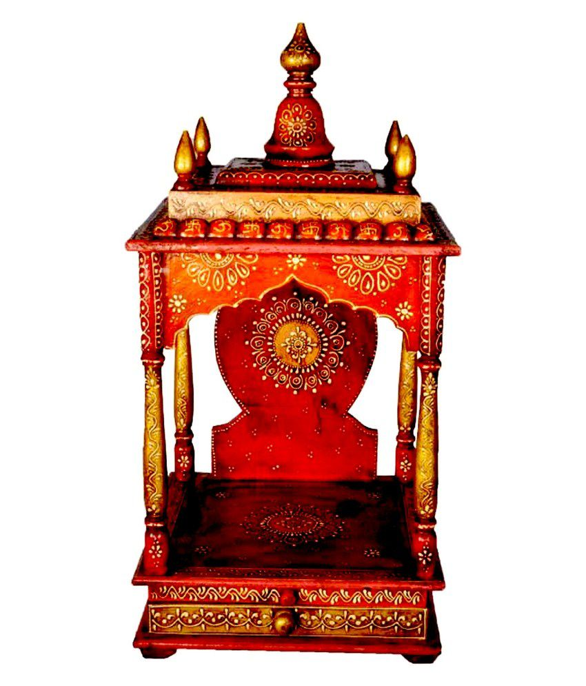Homeandbazaar Rajasthani Ethnic Handpainted Wooden Temple