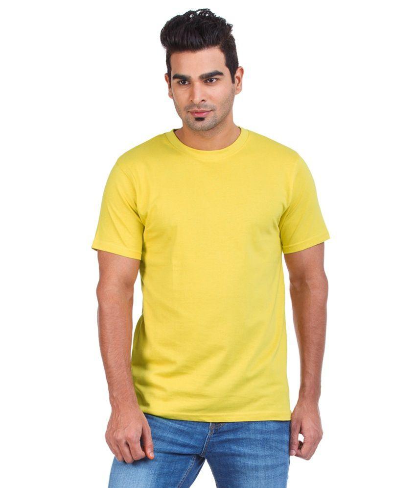 I C Yellow Cotton Men T Shirt