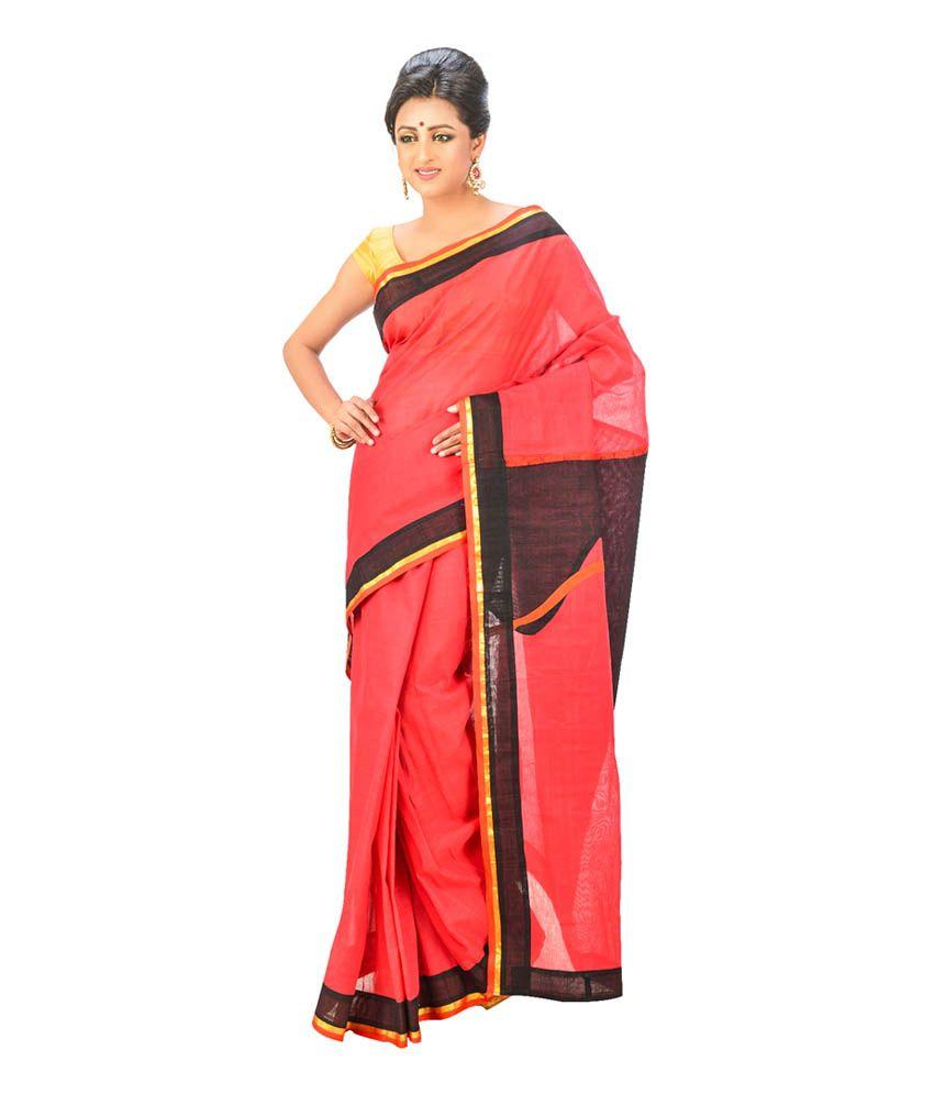 INDIAN SAREE MANDIR Black Cotton Bengal Tant Saree