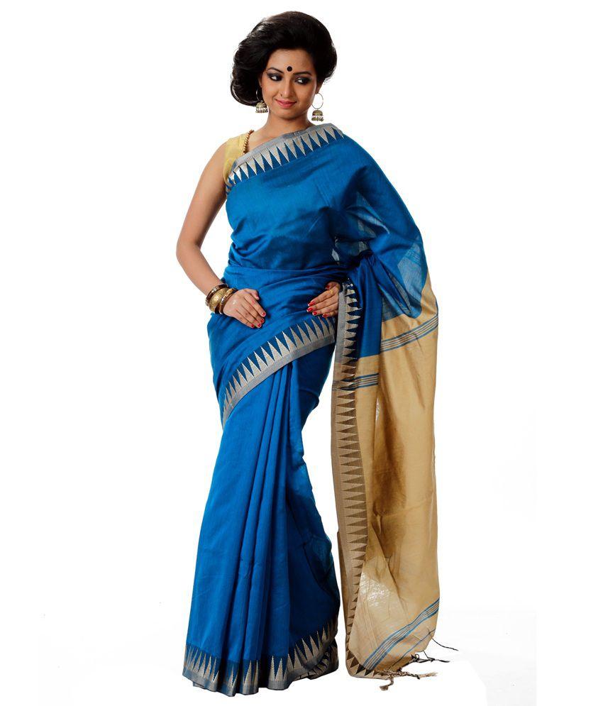 Mmantra Blue Cotton Bengal Tant Saree