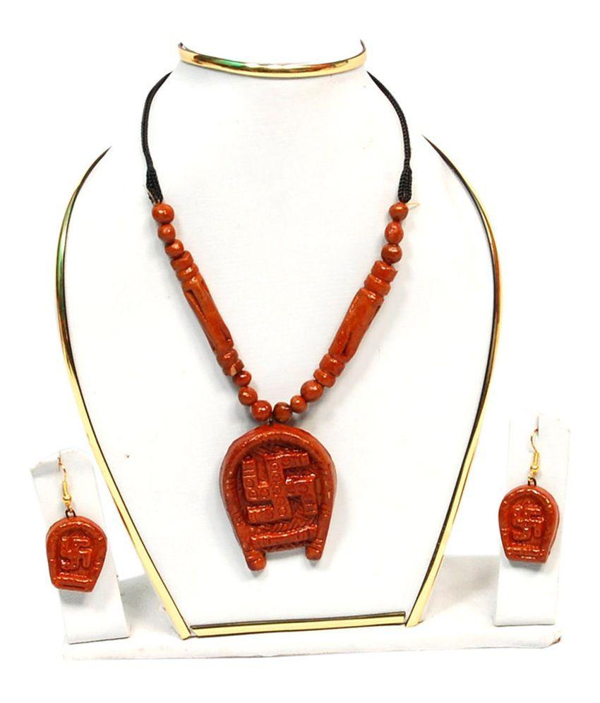 Alekip Traditional Terracotta Brown Necklace Set