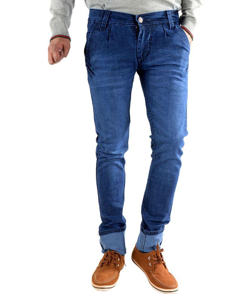 Chandra Blue Cotton Blend Jeans