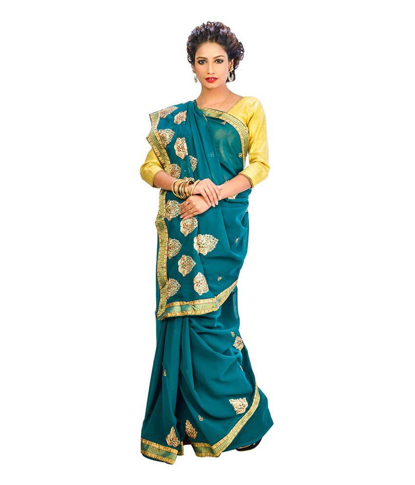 INDIAN SAREE MANDIR Green Cotton Bengal Tant Saree