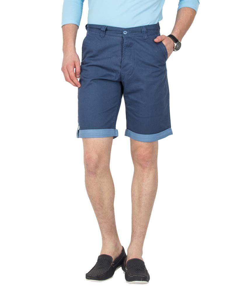 Le Bison Blue Cotton Casual Shorts