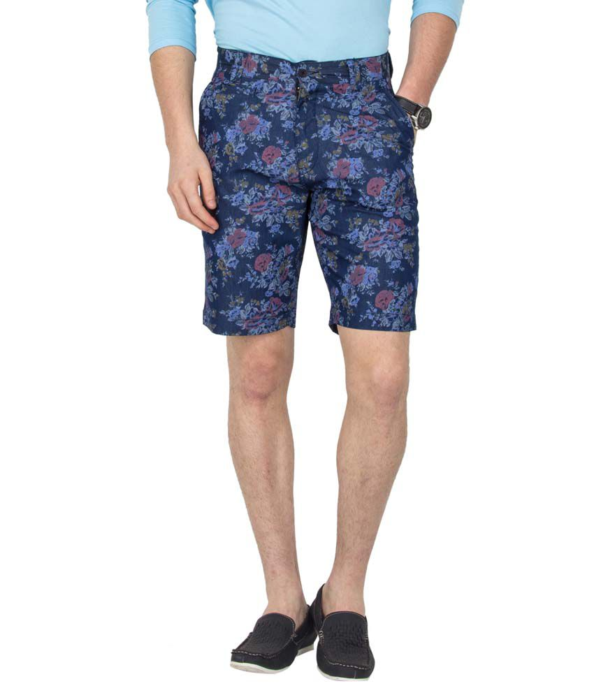 Le Bison Blue Cotton Casual Shorts