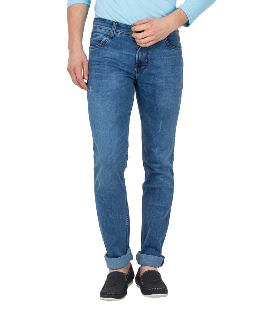 Le Bison Blue Cotton Slim Fit Jeans
