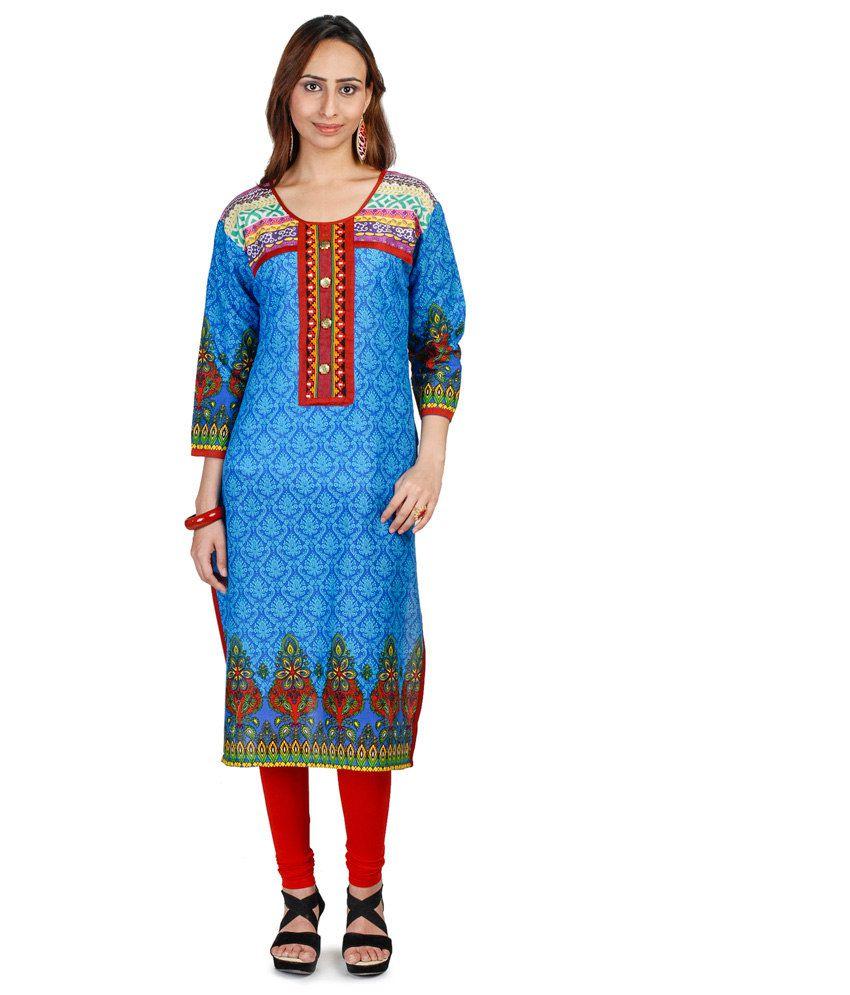 Lineysha Boutique Blue Printed Cotton Kurti
