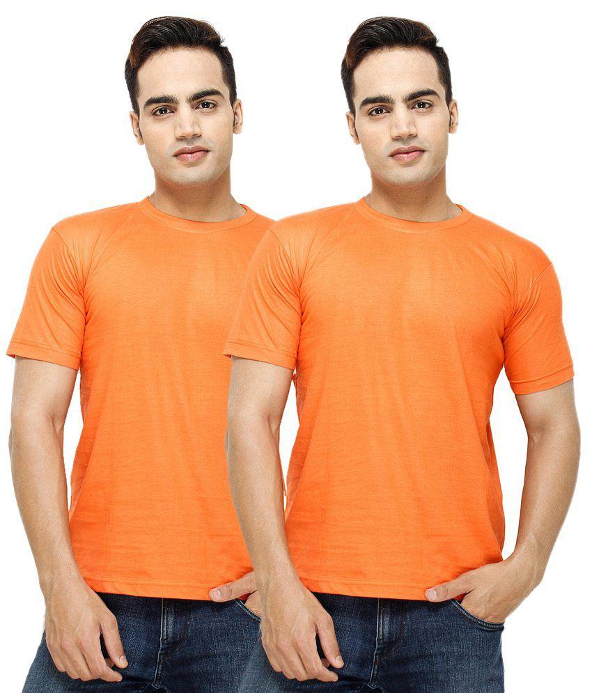 Fashion Enterprises T Shirts Orange Solid T-Shirt (Pack of 2)