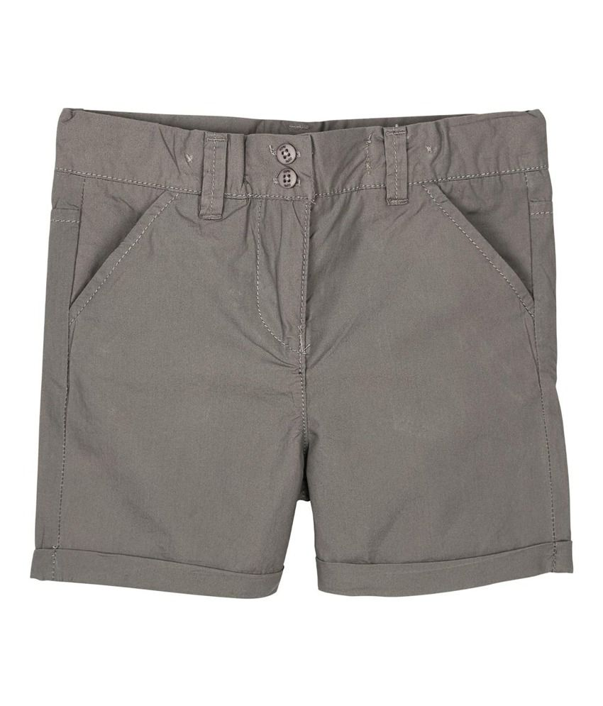 Oye Gray Cotton Solids Shorts