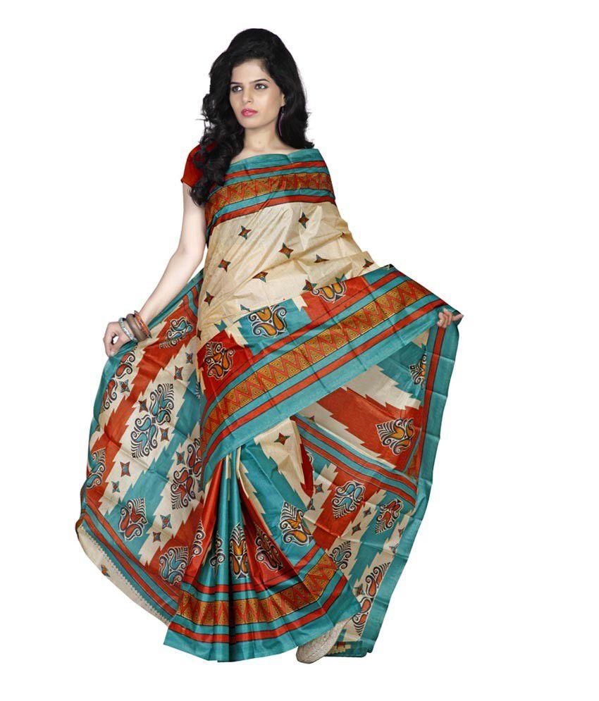 Sheryl Trendz Multi Color Bhagalpuri Silk Saree