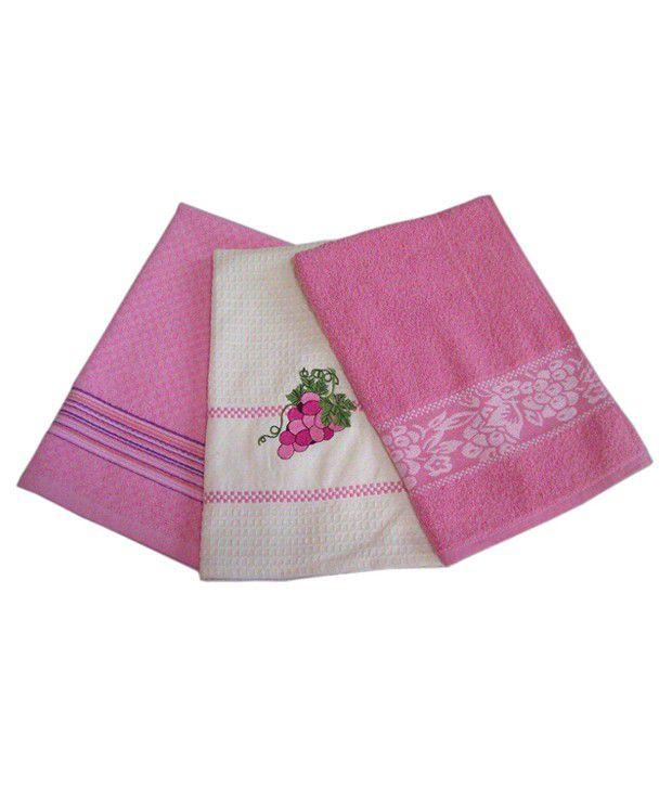 ai 3pc kitchen towel set pink buy ai 3pc kitchen towel
