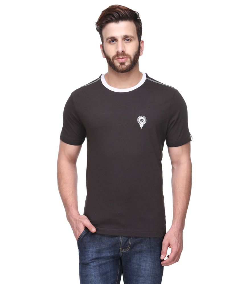 Canary London Brown Cotton Blend Round Neck Half Sleeves T-Shirt