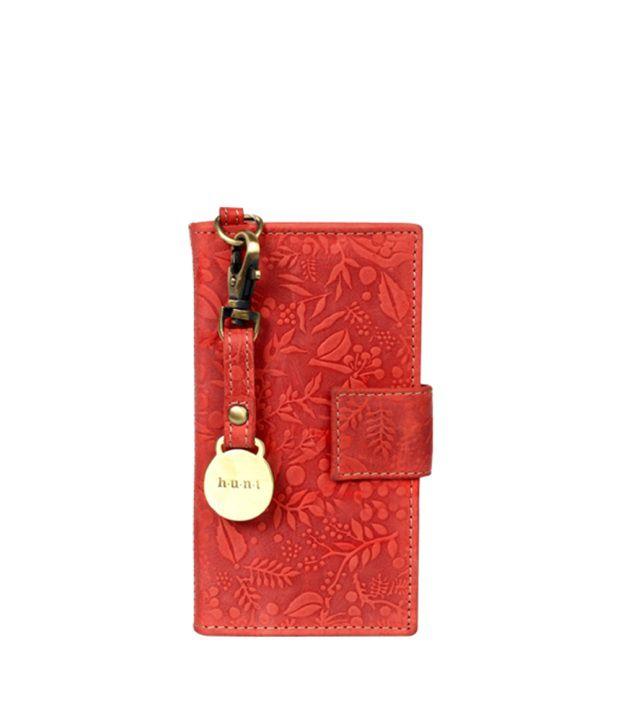 H.u.n.t Maroon Leather Long Wallet