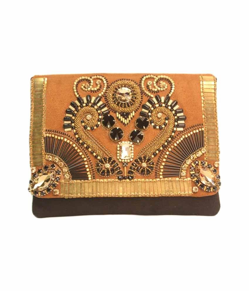 V Da Couture Brown Suede Special Occasion Rectangle Designer Envelope Clutch
