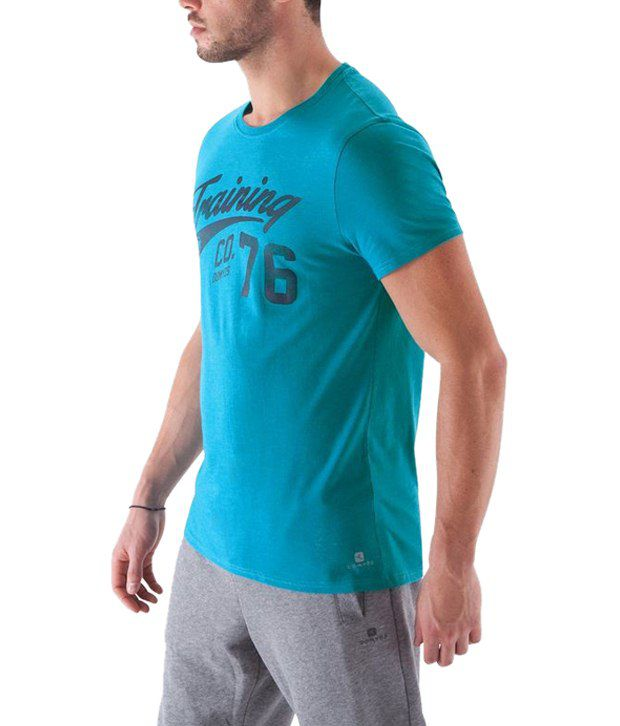 Domyos Sea Blue Printed Fitness T Shirt for Men
