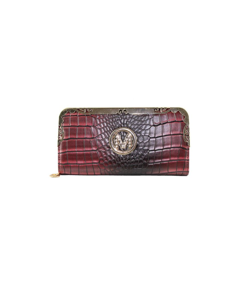 La Femme Essentials Brown PU Zip Wallet