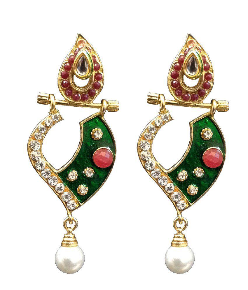 Zayna Multicolor Push Back Interchangeable Stones Jewellery Earrings