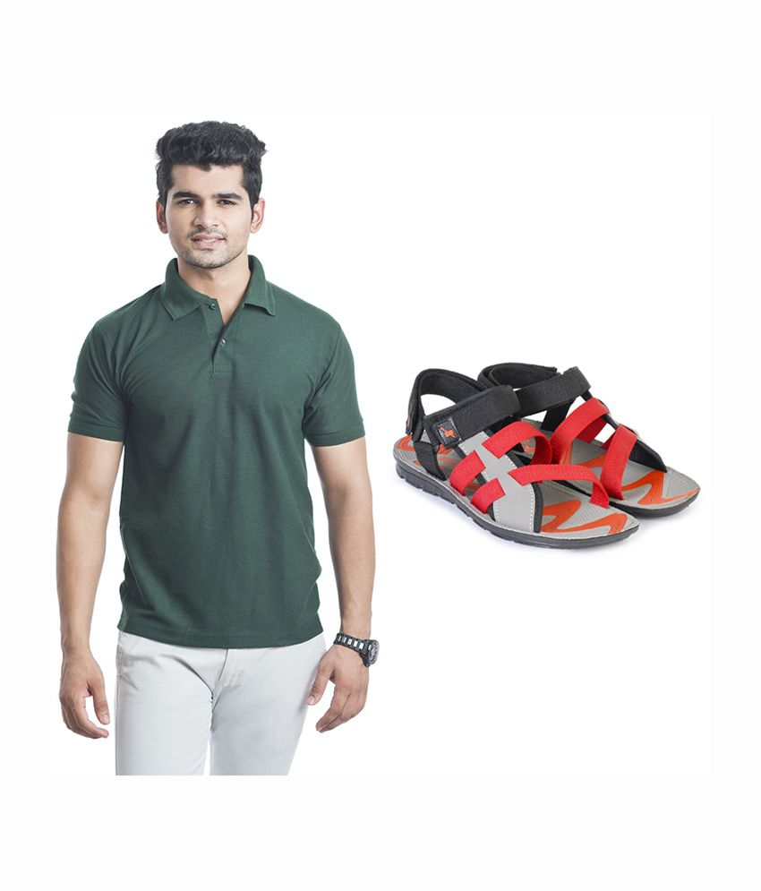 Eprilla Stylish Green T-Shirt with Sandals (Pack of 2)