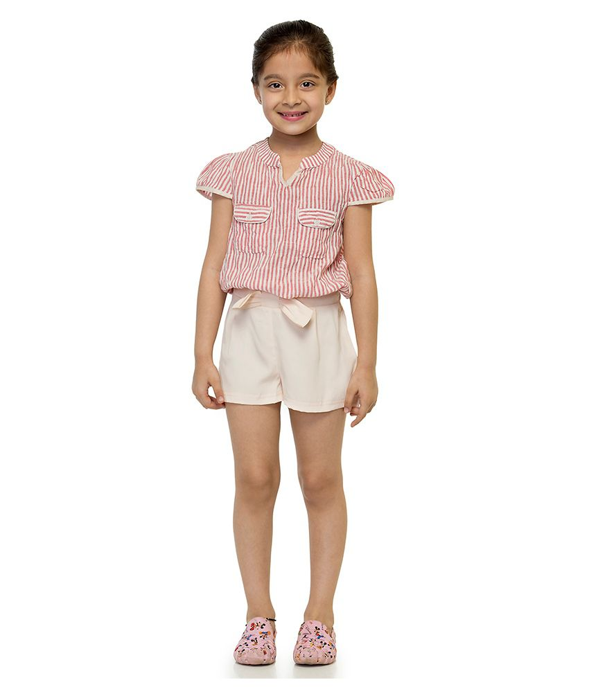 Oxolloxo Synthetic Solid Shorts For Girls