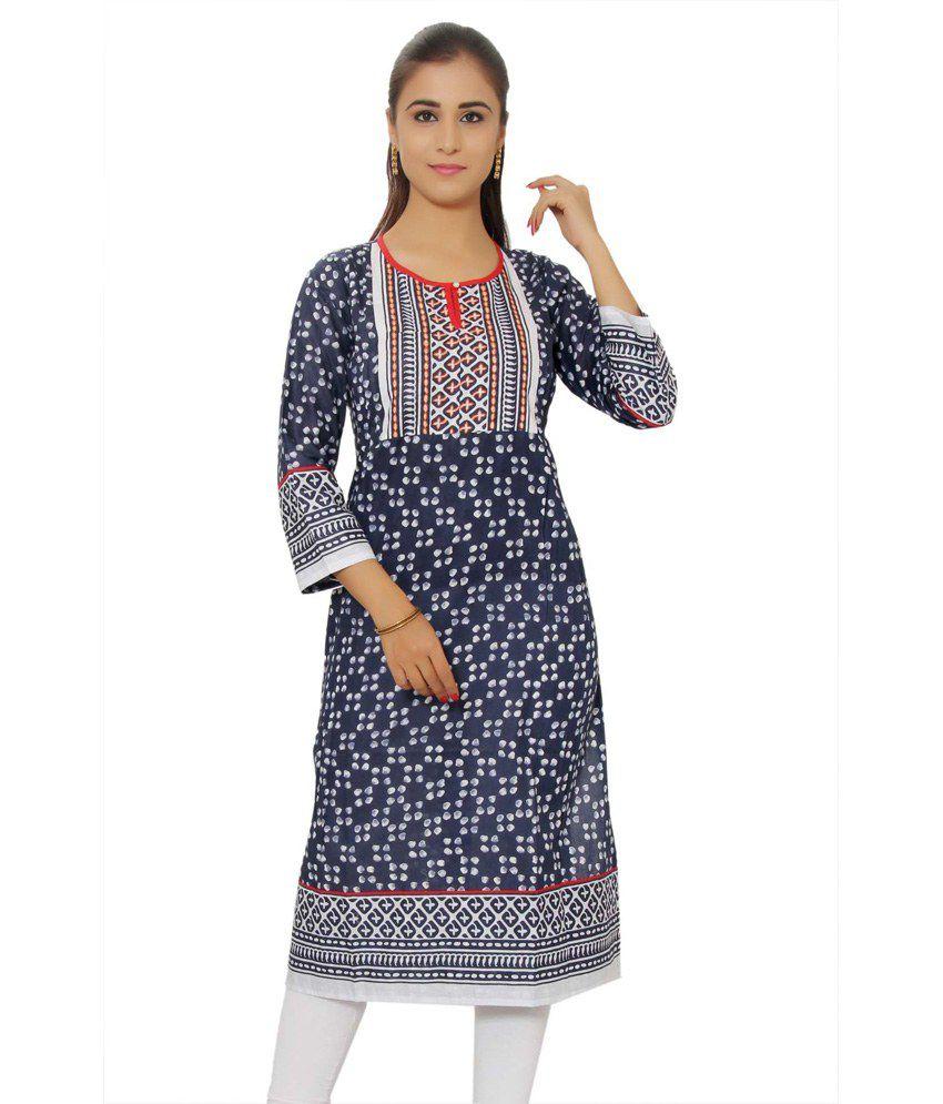 Rajwada Garments White Cotton Embroidered Knitted Round Neck Kurti
