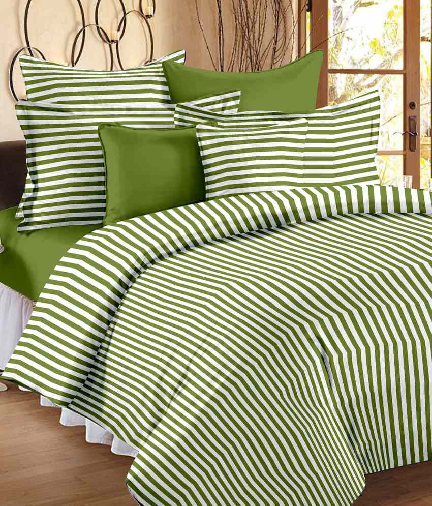 ... Story @ Home Green U0026 Orange Cotton 2 Single Bed Sheets With 2 Pillow  Covers ...