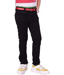 Utex Satin Finished Silky Denim Elastic Pure Black Jeans Pant for Kids