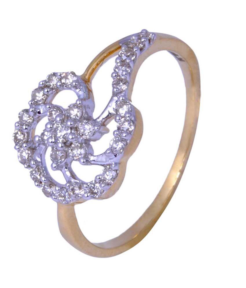 Ansh Jewels Hallmarked 18kt Gold & Diamond Ring
