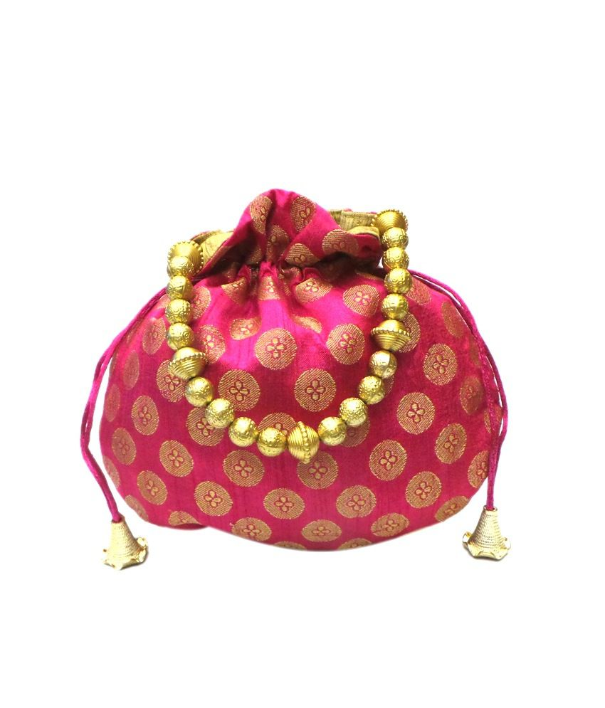 Bhamini Brocade Small Potli - Pink