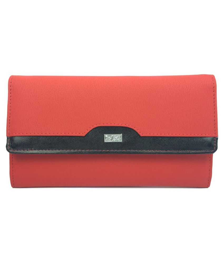 Goodwill Leather Art Red Magnit Button Dynamic Clutch