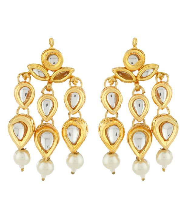 Imli Street Golden Kundan Earrings