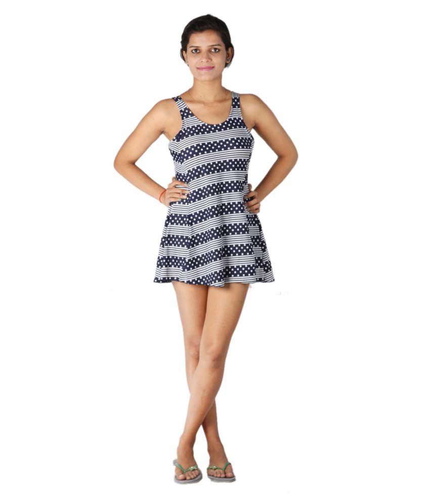 Indraprastha Blue Print Striped And Dotted Swimsuit/ Swimming Costume