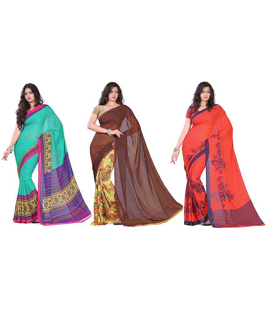 Kia Fashions Faux Georgette Saree Pack Of 3