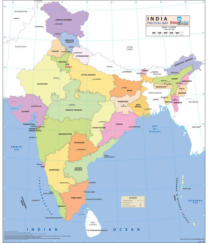 Maps of india india political map buy online at best price in india maps of india india political map gumiabroncs Images