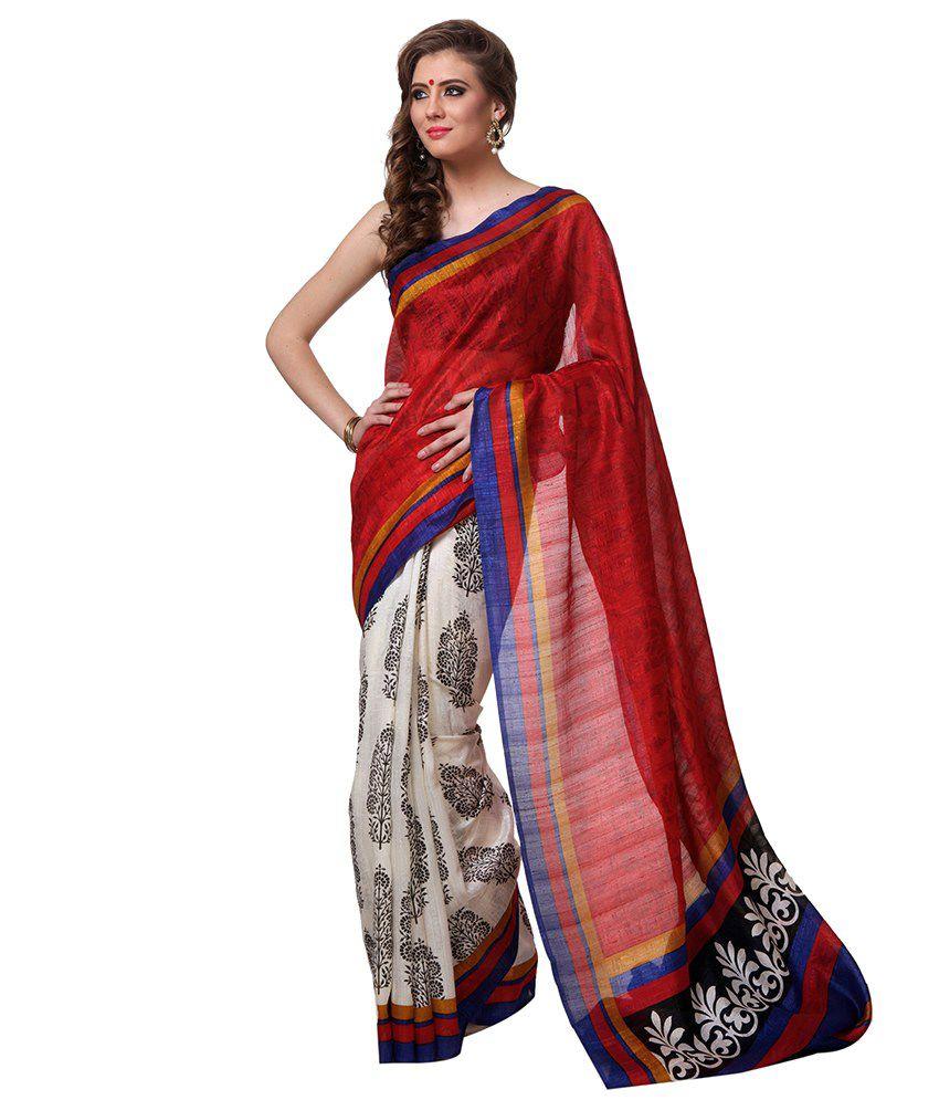 Riti Riwaz Red Bhagalpuri Silk Saree