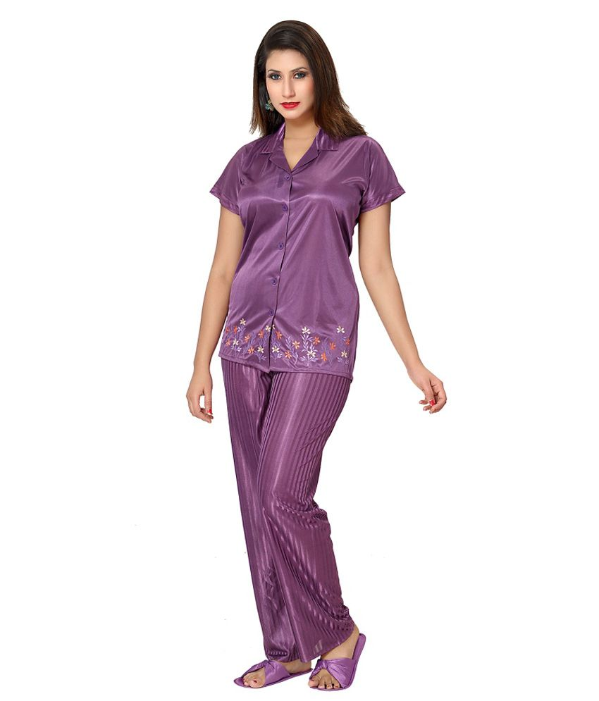 Buy Go Glam Satin Embroidered Purple Night Suit with Slippers Online at Best  Prices in India - Snapdeal e0b66dd01