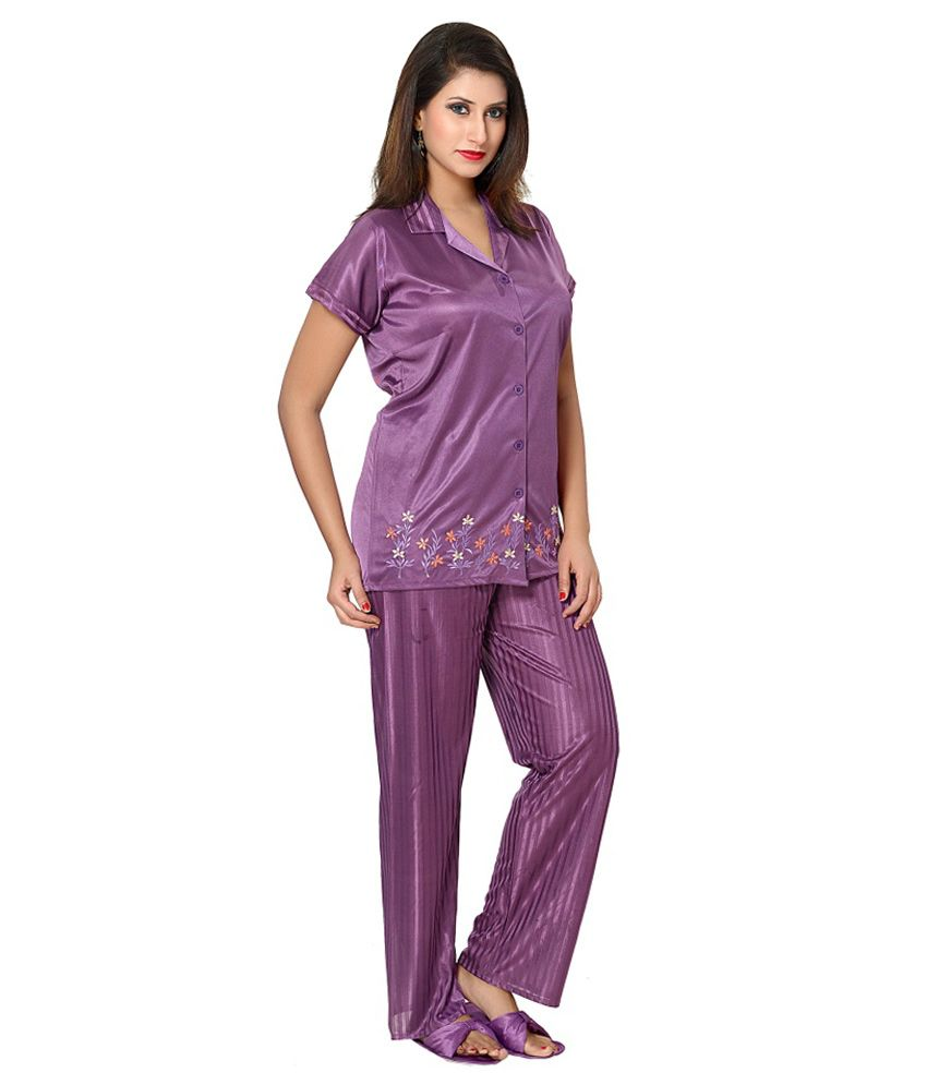 Buy Go Glam Satin Embroidered Purple Night Suit with Slippers Online ... 695024ba6