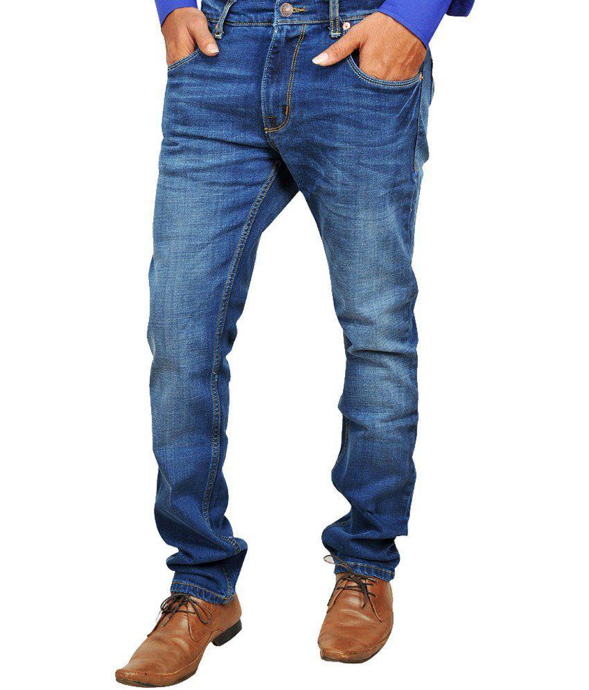Hdusty Blue Cotton Slim Fit Jeans