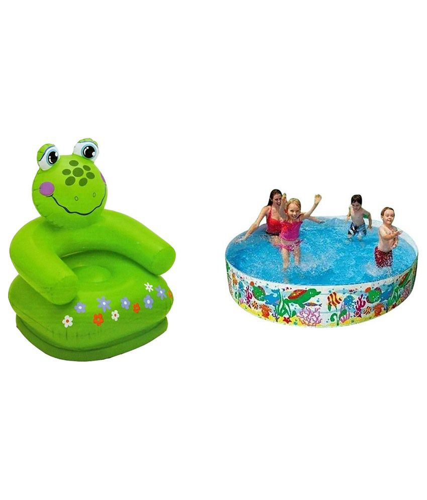 Intex Inflatable Intex Inflatable Plastic Combo Pack Of Frog Chair & Tub