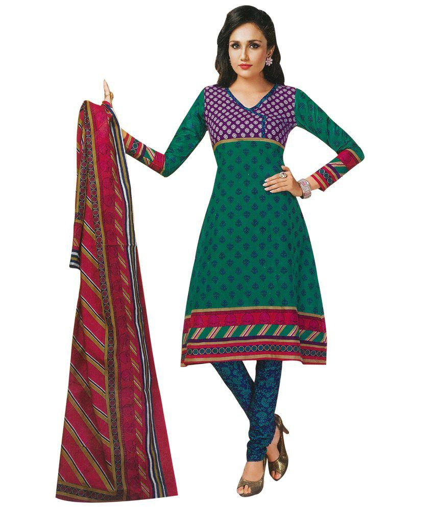 Rameshbhai Dilipbhai Gajera Green Cotton Unstitched Dress Material