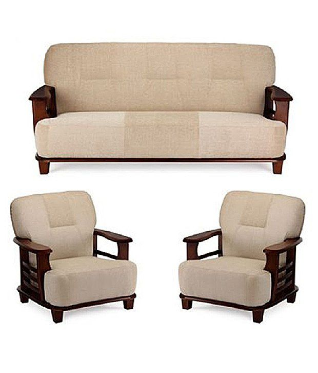 Teak Wood 5 Seater Sofa Set 3 1 1 Cream Buy Teak